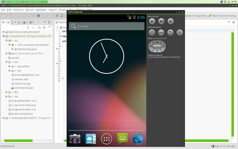 Prise d'écran de l'environnement de développement intégré Eclipse lors du développement d'une application Androïd avec l'émulateur de lancé
