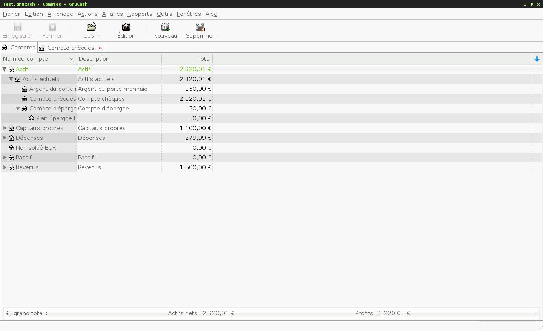 Le logiciel de gestion de finances personnelles GnuCash - Vue des comptes