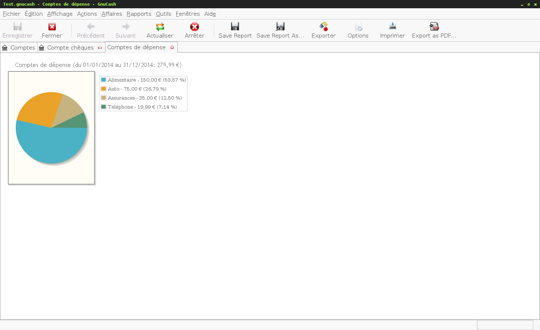 Le logiciel de gestion de finances personnelles GnuCash - Génération d'un graphique en forme de camembert