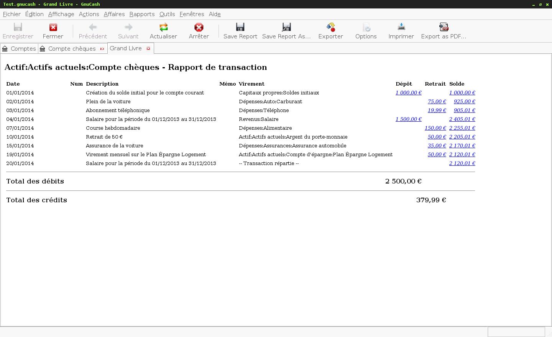 Le logiciel de gestion de finances personnelles GnuCash - Génération d'un rapport pour un des comptes
