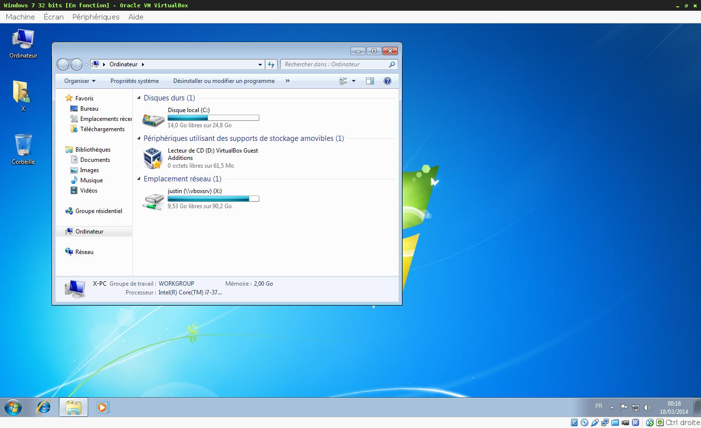 Prise d'écran du logiciel de virtualisation Oracle Virtualbox - Machine virtuelle sous Microsoft Windows 7