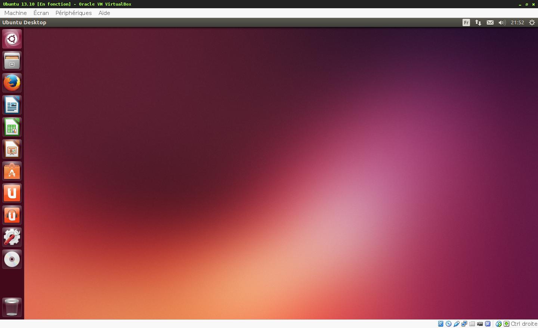 Prise d'écran du logiciel de virtualisation Oracle Virtualbox - Machine virtuelle sous Ubuntu 13.10