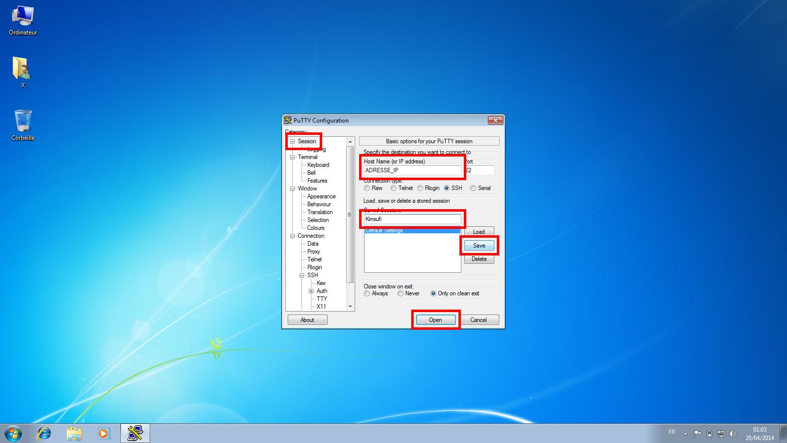 Connexion à un serveur dédié Kimsufi via le protocole SSH - Étape 6