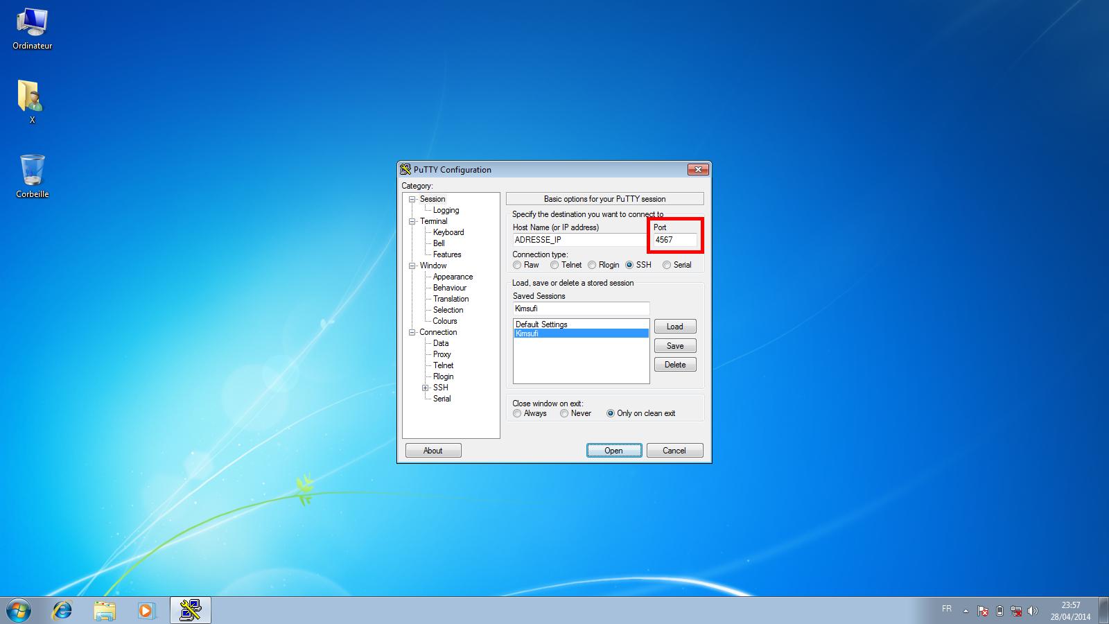 Sécurisation minimale d'un serveur dédié Kimsufi sous Ubuntu Server 14.04 LTS - Modification du port SSH dans PuTTY