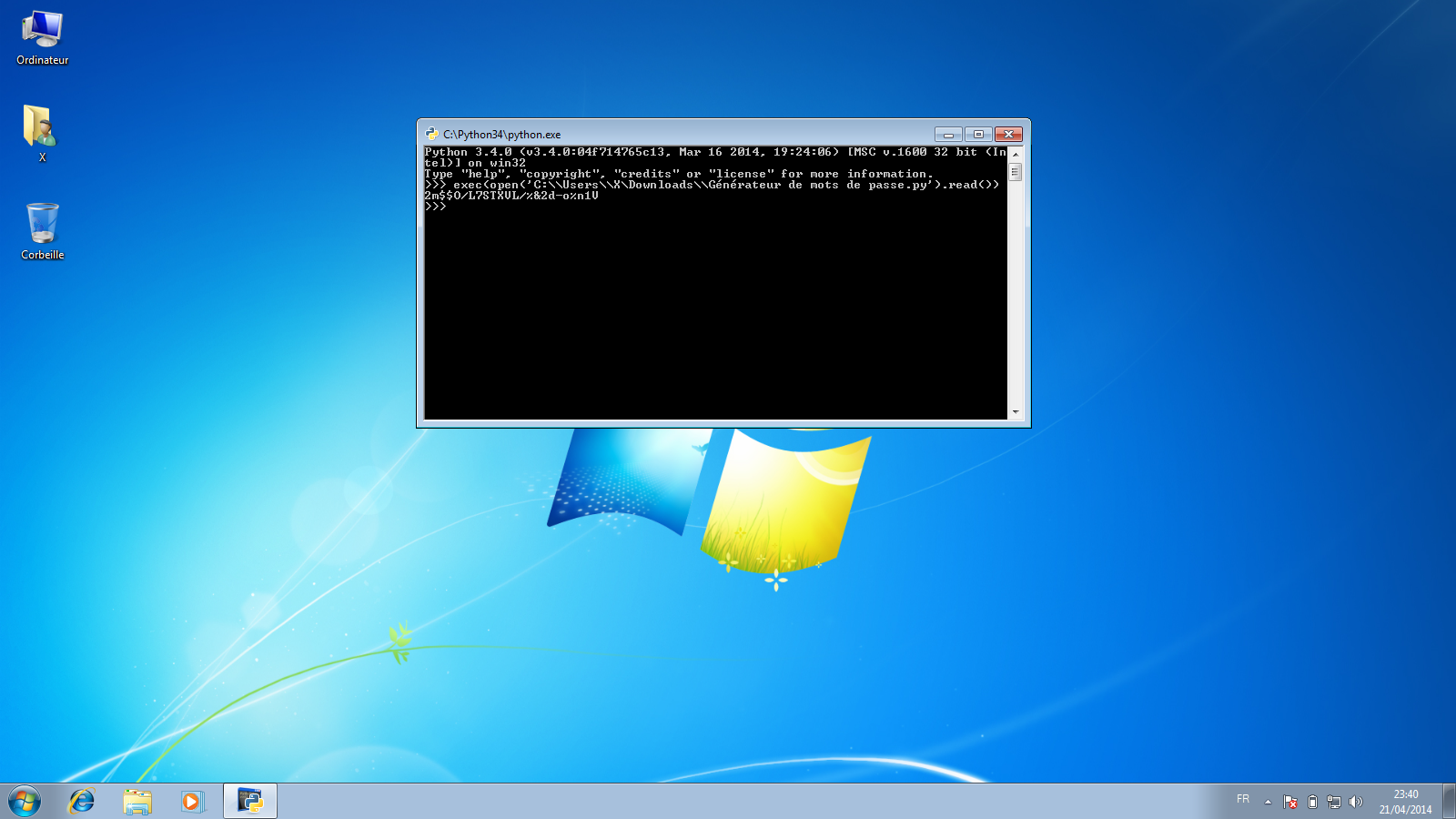 Script Python de génération de mots de passe - Exemple sous Microsoft Windows
