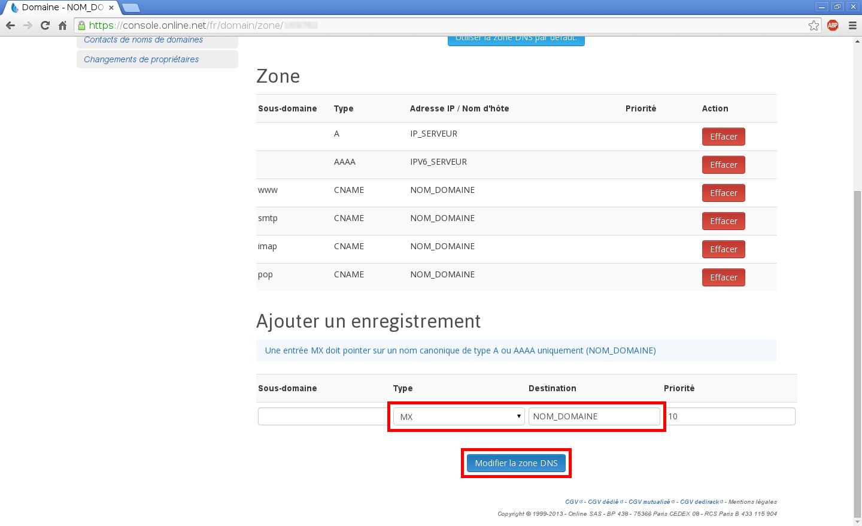 Configuration de noms de domaines chez Online.net et 1and1.fr pour pointer sur un serveur dédié Kimsufi - Configuration d'un nom de domaine chez Online.net - Étape 11