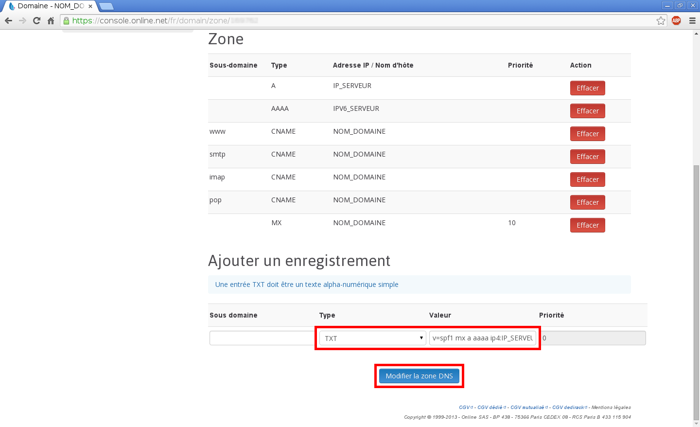 Configuration de noms de domaines chez Online.net et 1and1.fr pour pointer sur un serveur dédié Kimsufi - Configuration d'un nom de domaine chez Online.net - Étape 12
