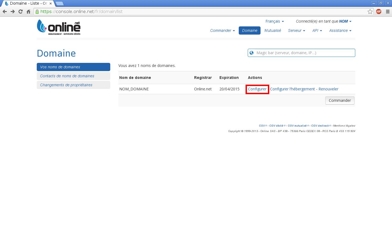Configuration de noms de domaines chez Online.net et 1and1.fr pour pointer sur un serveur dédié Kimsufi - Configuration d'un nom de domaine chez Online.net - Étape 2