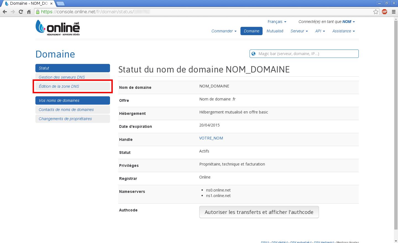 Configuration de noms de domaines chez Online.net et 1and1.fr pour pointer sur un serveur dédié Kimsufi - Configuration d'un nom de domaine chez Online.net - Étape 3