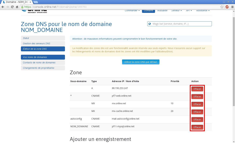 Configuration de noms de domaines chez Online.net et 1and1.fr pour pointer sur un serveur dédié Kimsufi - Configuration d'un nom de domaine chez Online.net - Étape 4