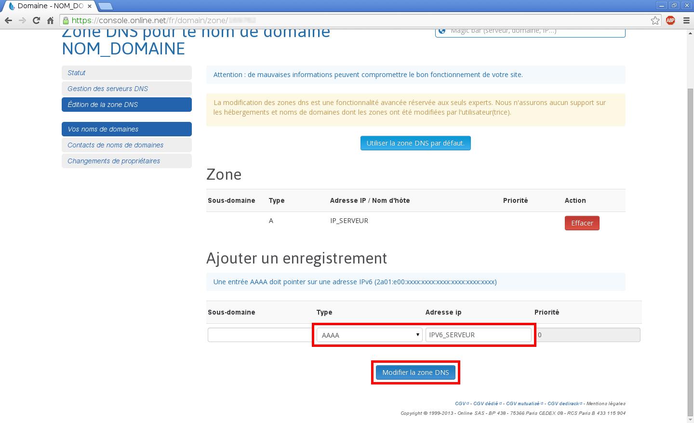 Configuration de noms de domaines chez Online.net et 1and1.fr pour pointer sur un serveur dédié Kimsufi - Configuration d'un nom de domaine chez Online.net - Étape 6