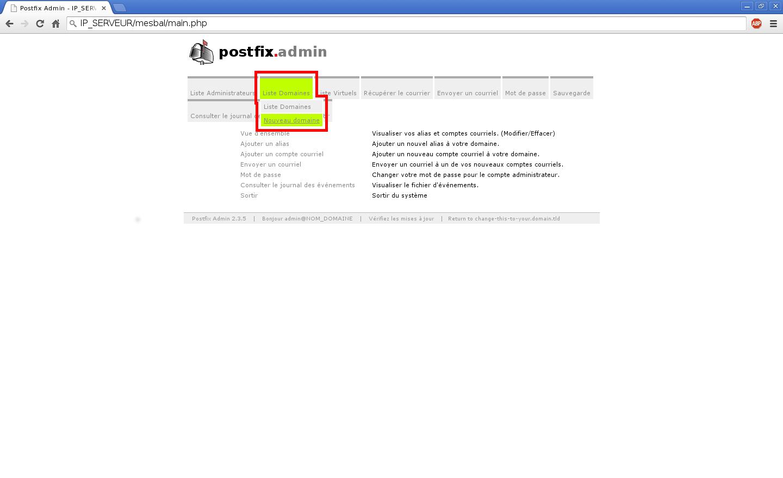 Création de boîtes aux lettres dans Postfix Admin sur un serveur dédié Kimsufi sous Ubuntu Server 14.04 LTS - Création d'un nom de domaine - Partie 1