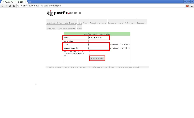 Création de boîtes aux lettres dans Postfix Admin sur un serveur dédié Kimsufi sous Ubuntu Server 14.04 LTS - Création d'un nom de domaine - Partie 2