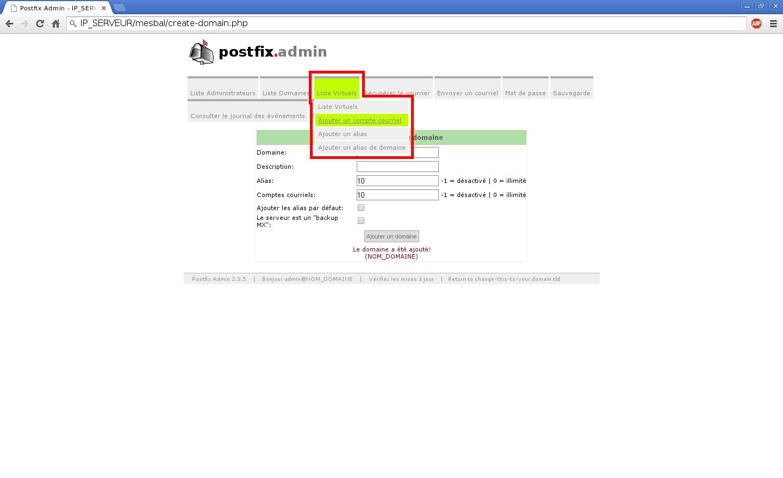 Création de boîtes aux lettres dans Postfix Admin sur un serveur dédié Kimsufi sous Ubuntu Server 14.04 LTS - Création d'un compte e-mail - Partie 1