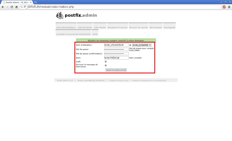 Création de boîtes aux lettres dans Postfix Admin sur un serveur dédié Kimsufi sous Ubuntu Server 14.04 LTS - Création d'un compte e-mail - Partie 2