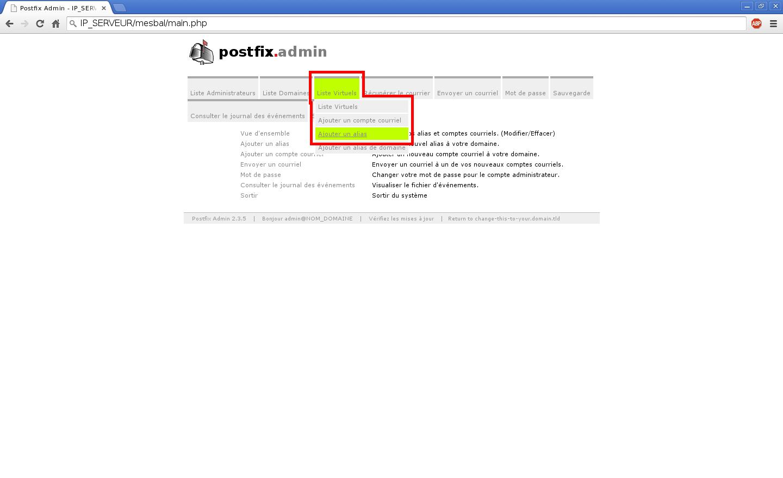 Création de boîtes aux lettres dans Postfix Admin sur un serveur dédié Kimsufi sous Ubuntu Server 14.04 LTS – Création d'un alias – Partie 1