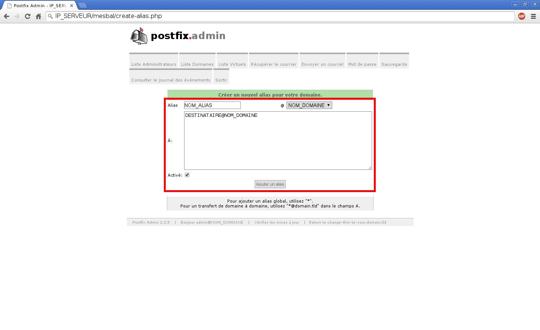 Création de boîtes aux lettres dans Postfix Admin sur un serveur dédié Kimsufi sous Ubuntu Server 14.04 LTS – Création d'un alias – Partie 2