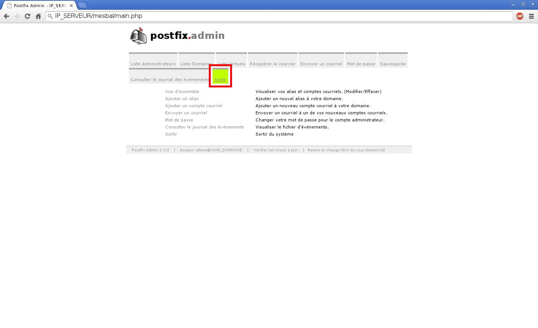 Création de boîtes aux lettres dans Postfix Admin sur un serveur dédié Kimsufi sous Ubuntu Server 14.04 LTS – Quitter Postfix Admin