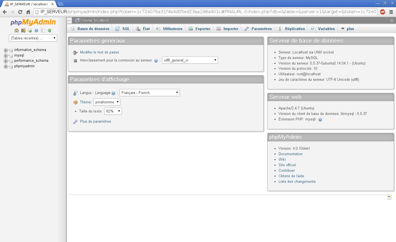 Installation du SGBDR MySQL sur un serveur dédié Kimsufi sous Ubuntu Server 14.04 LTS – Tableau de bord de PHPMyAdmin