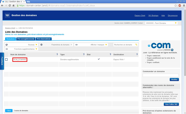 Configuration de noms de domaines chez Online.net et 1and1.fr pour pointer sur un serveur dédié Kimsufi – Configuration d'un nom de domaine chez 1and1.fr – Étape 3