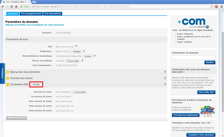 Configuration de noms de domaines chez Online.net et 1and1.fr pour pointer sur un serveur dédié Kimsufi – Configuration d'un nom de domaine chez 1and1.fr – Étape 4