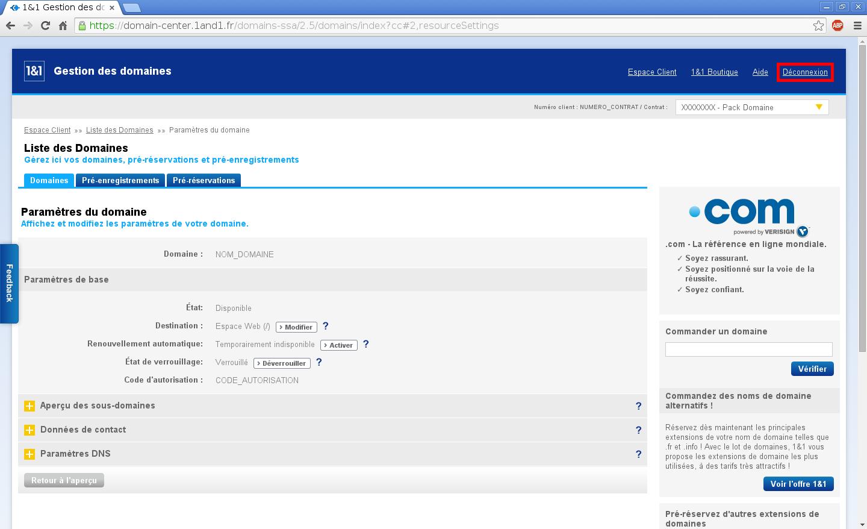 Configuration de noms de domaines chez Online.net et 1and1.fr pour pointer sur un serveur dédié Kimsufi – Configuration d'un nom de domaine chez 1and1.fr – Étape 7