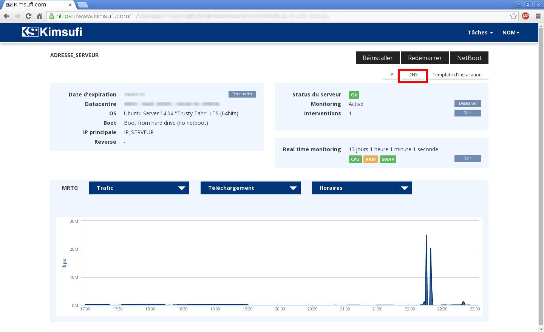 Configuration de noms de domaines chez Online.net et 1and1.fr pour pointer sur un serveur dédié Kimsufi – Configuration d'un nom de domaine chez 1and1.fr – Étape 8