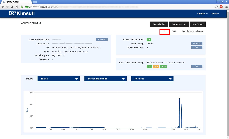 Configuration de noms de domaines chez Online.net et 1and1.fr pour pointer sur un serveur dédié Kimsufi - Configuration du Reverse DNS - Étape 1