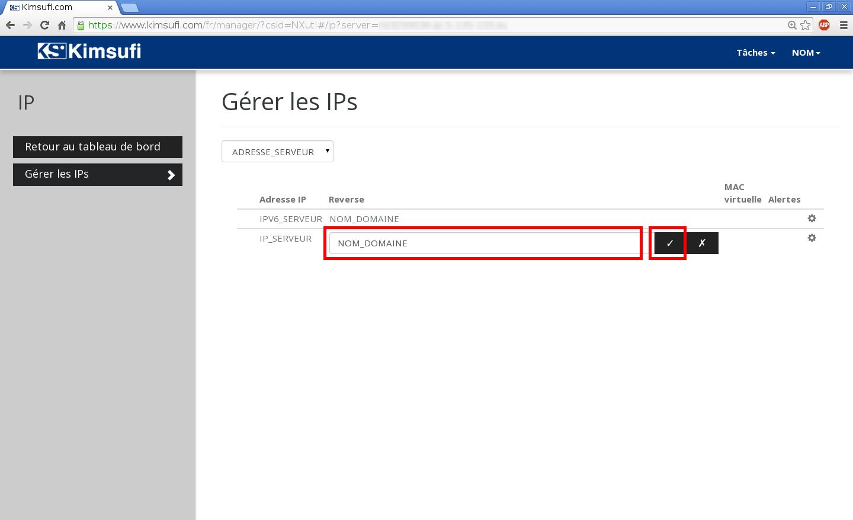 Configuration de noms de domaines chez Online.net et 1and1.fr pour pointer sur un serveur dédié Kimsufi – Configuration du Reverse DNS – Étape 5