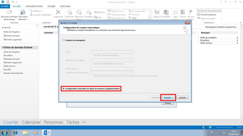 Configuration des comptes e-mails pour Microsoft Outlook - Étape 11