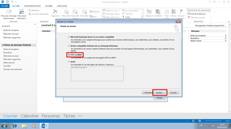 Configuration des comptes e-mails pour Microsoft Outlook - Étape 12