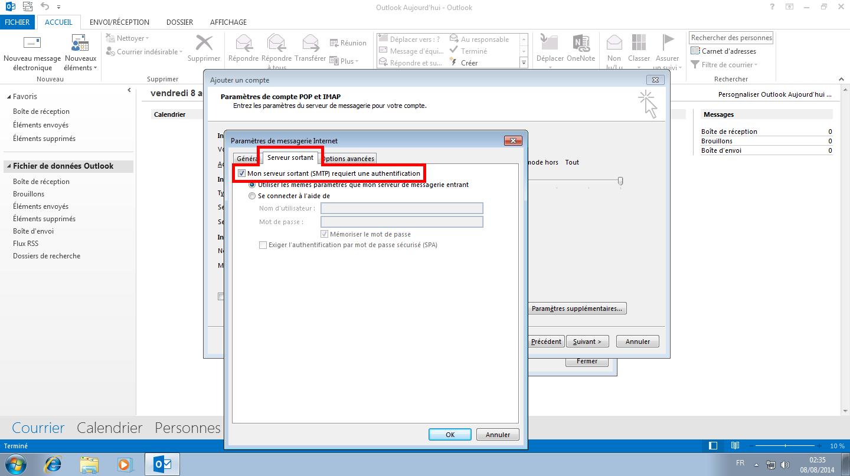 Configuration des comptes e-mails pour Microsoft Outlook - Protocole IMAP - Étape 2