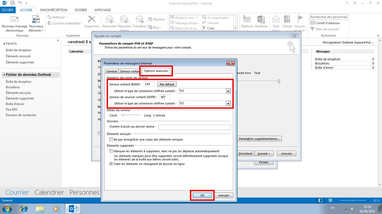Configuration des comptes e-mails pour Microsoft Outlook - Protocole IMAP - Étape 3