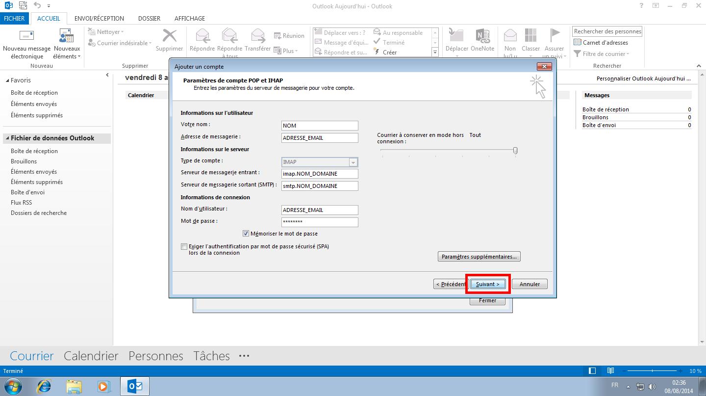 Configuration des comptes e-mails pour Microsoft Outlook - Protocole IMAP - Étape 4