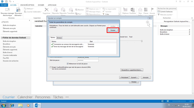 Configuration des comptes e-mails pour Microsoft Outlook - Protocole IMAP - Étape 5