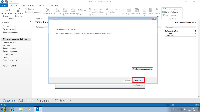 Configuration des comptes e-mails pour Microsoft Outlook - Protocole IMAP - Étape 6