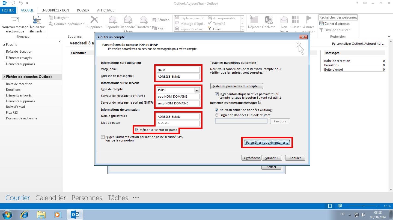 Configuration des comptes e-mails pour Microsoft Outlook - Protocole POP - Étape 1