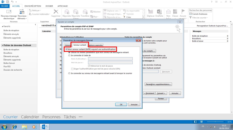 Configuration des comptes e-mails pour Microsoft Outlook - Protocole POP - Étape 2