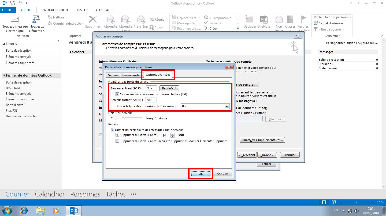 Configuration des comptes e-mails pour Microsoft Outlook - Protocole POP - Étape 3