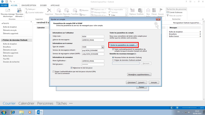 Configuration des comptes e-mails pour Microsoft Outlook - Protocole POP - Étape 4