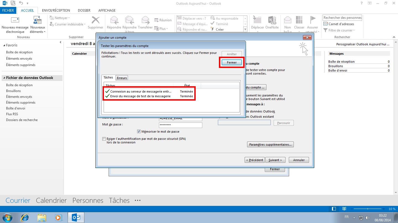 Configuration des comptes e-mails pour Microsoft Outlook - Protocole POP - Étape 5