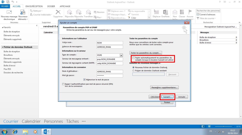 Configuration des comptes e-mails pour Microsoft Outlook - Protocole POP - Étape 6