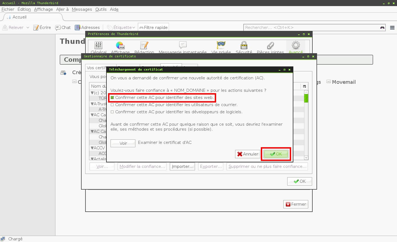 Configuration des comptes e-mails pour Mozilla Thunderbird - Étape 5