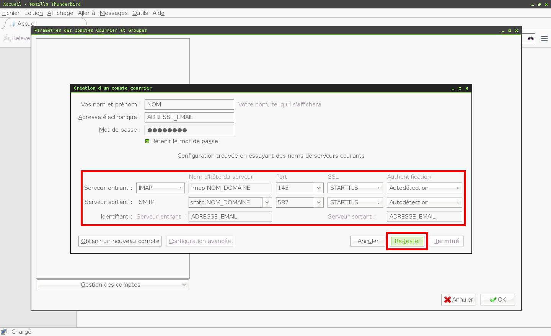 Configuration des comptes e-mails pour Mozilla Thunderbird - Protocole IMAP - Étape 1