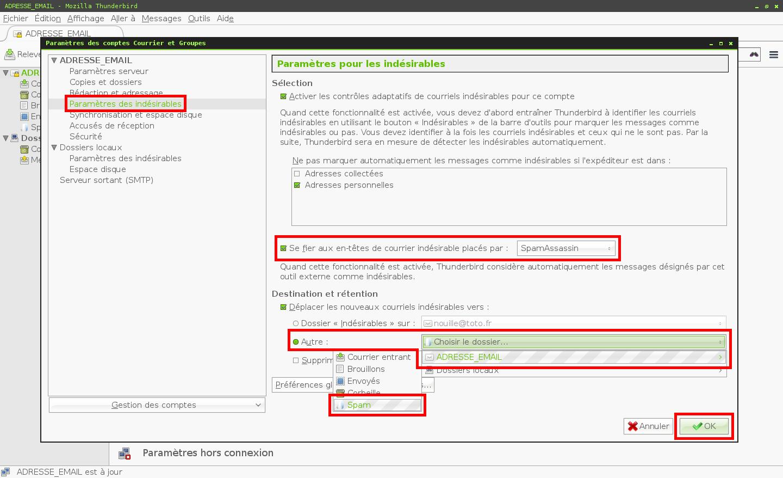 Configuration des comptes e-mails pour Mozilla Thunderbird - Protocole IMAP - Étape 3
