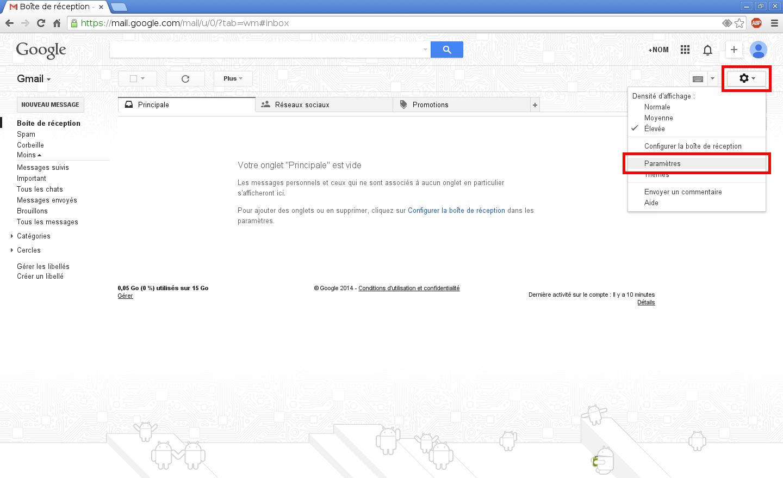 Configuration des comptes e-mails pour Gmail - Étape 1