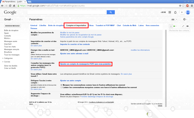 Configuration des comptes e-mails pour Gmail - Étape 2