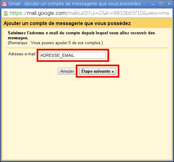 Configuration des comptes e-mails pour Gmail - Étape 3