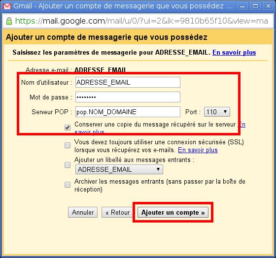 Configuration des comptes e-mails pour Gmail - Étape 4