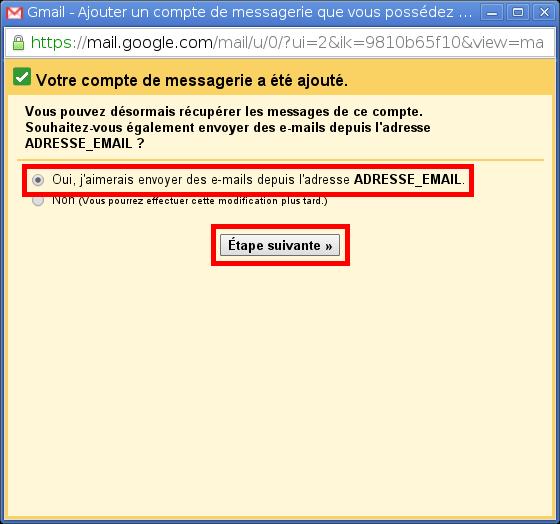 Configuration des comptes e-mails pour Gmail - Étape 5